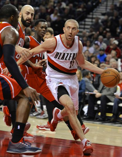 Portland Trail Blazers guard Steve Blake looks to make a play during the first half of an NBA game in Portland, Ore., on Jan. 3, 2015.