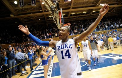 Duke's Rasheed Sulaimon celebrates as he leaves the floor after a win over the Maryland Terrapins at Cameron Indoor Stadium on February 15, 2014 in Durham, North Carolina. Sulaimon, dismissed by the team in the winter, is now reportedly being recruited by Maryland.