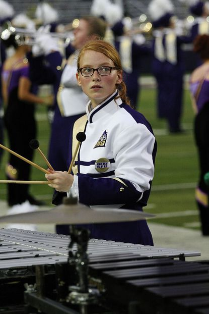 Ali Adamson, of Marriottsville, is shown with a vibraphone as part of the James Madison University Marching Royal Dukes band.