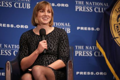 Bethesda native and champion swimmer Katie Ledecky announces that she will become a professional swimmer during the Newsmakers luncheon at the National Press Club March 26, 2018 in Washington, DC.