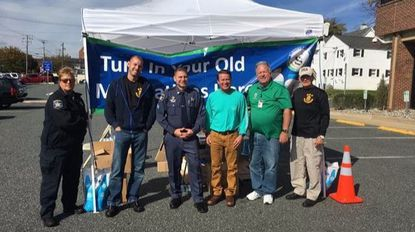 Participating in Drug Take Back Day in Bel Air were, from left: Senior Deputy Jody Nickoles, DEA Special Agent Paul Neikirk; Deputy Sgt. Aaron Penman; County Executive Barry Glassman; Office of Drug Control Policy Manager Joe Ryan; and DEA Group Supervisor Charles W. Hedrick.