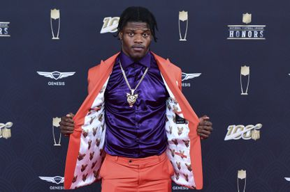 Lamar Jackson arrives at the 9th Annual NFL Honors at the Adrienne Arsht Center in Miami on Saturday, Feb. 1, 2020.