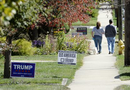 Campaign signs are posted in front yards along West Green Street in Westminster Thursday, Oct. 8, 2020.