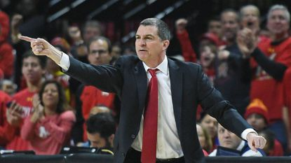 Maryland head coach Mark Turgeon directing players in victory over Wisconsin. Turgeon earned his top-paid salary that night in February.