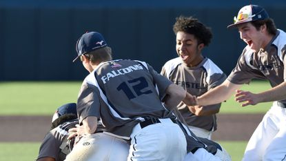 The Gerstell Academy baseball team celebrates its MIAA B Conference championship win over Boys' Latin Tuesday at the Harford Community College Sports Complex. User Upload Caption: MIAA B Conference final