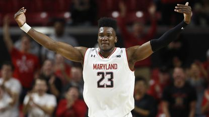 Maryland forward Bruno Fernando celebrates in the second half of a game against Hofstra, Friday, Nov. 16, 2018, in College Park.