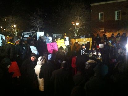 """Advocacy groups hold a """"die-in"""" in Annapolis Monday night to call attention to their push to reform the Law Enforcement Officers' Bill of Rights, a state law that gives protections to police officers accused of misconduct."""