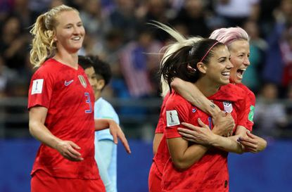 Alex Morgan celebrates with teammates after scoring her team's fifth goal during the 2019 FIFA Women's World Cup match between the U.S. and Thailand in Reims, France.