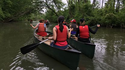 The four-hour adult evening in the marsh canoe tour at Jug Bay Wetlands Sanctuary in Lothian lets you paddle some of the smaller branches of the Patuxent River to look for beavers, birds, other wildlife, and flowering wetland plants.