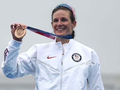 TOKYO, JAPAN - JULY 27: Bronze medalist Katie Zaferes of Team United States poses with her medal during the Women's Individual Triathlon on day four of the Tokyo 2020 Olympic Games at Odaiba Marine Park on July 27, 2021 in Tokyo, Japan. (Photo by Buda Mendes/Getty Images) ** OUTS - ELSENT, FPG, CM - OUTS * NM, PH, VA if sourced by CT, LA or MoD **