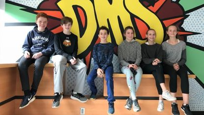 Dumbarton Middle School eighth-graders, pictured on Nov. 20, raised thousands of dollars for the Malala Fund for girls education. From left: Owen Fay, 13; Gabe Foster, 14; Noah Webb, 13; Miriam Barker, 13; Annika Vanlandingham, 13; and Lily Harrison, 13.