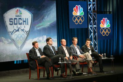 "NBC Sports chief Mark Lazarus, executive producer Jim Bell, and NBC Olympics reporters Al Michaels, Cris Collinsworth, and Apolo Ohno speak onstage during the ""NBC Olympics"" panel discussion at the NBC portion of the 2013 Summer Television Critics Association tour."