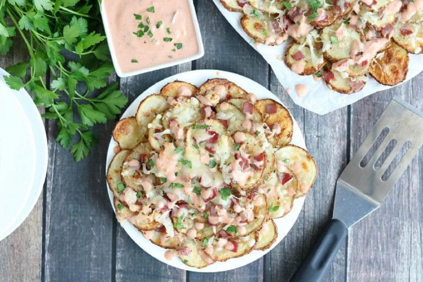 """Reuben-topped Irish nachos 