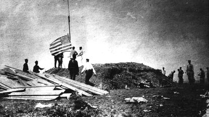 A Marine encampment at Camp McCalla, Guantanamo, June, 1898. The First United States Marine Battalion commanded by Lieutenant Colonel Robert W. Huntington, landed on the eastern side of Guantánamo Bay, Cuba on June, 10 1898.