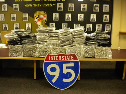 Police say they found 124 pounds of marijuana in a minivan they pulled over on I-95 in White Marsh.