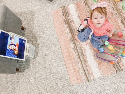 Natalie Dorsey, a 10-month-old from New Windsor, has spastic hemiplegia cerebral palsy and receives occupational therapy via telehealth from Kennedy Krieger Institute in Baltimore.