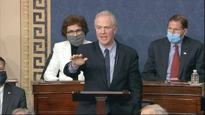 Sen. Chris Van Hollen, D-Md. speaks as the Senate debates the objection to confirm the Electoral College vote after a mob stormed into the U.S. Capitol on Wednesday, Jan. 6. (Associated Press)