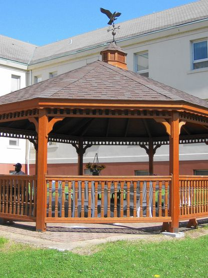 As his Eagle Scout project, James Heuser, of Towson, built this gazebo at Perry Point Veterans Medical Center. The ribbon-cutting ceremony took place June 28.