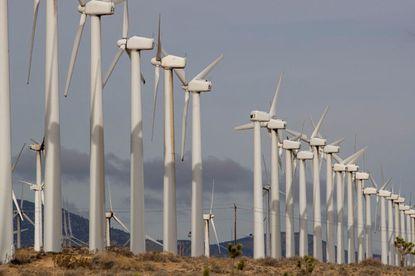 Wind turbines in the Tehachapi-Mojave Wind Resource Area near the city of Mojave, Calif., on Jan. 8, 2019.