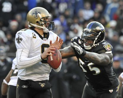 Terrell Suggs and the Ravens beat Drew Brees and New Orleans 30-24 in 2010, and they've never lost to the Saints' star quarterback.