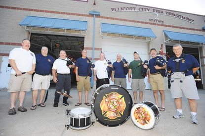Some members of The Fire Brigade Pipes & Drums of Greater Baltimore band.