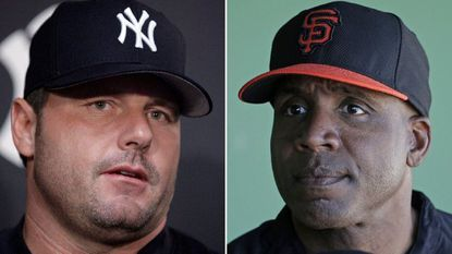 At left is a 2007 photo showing New York Yankees baseball player Roger Clemens. At right is a 2014 photo showing former San Francisco Giants baseball player Barry Bonds.