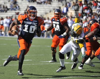 Seth Higgins rushes for a touchdown in Morgan State's game against Norfolk State last month.