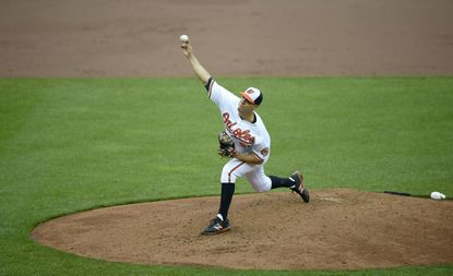 Baltimore Orioles starting pitcher Ubaldo Jimenez (31) delivers a pitch during a baseball game against the Chicago White Sox, Sunday, May 1, 2016, in Baltimore. (AP Photo/Nick Wass)