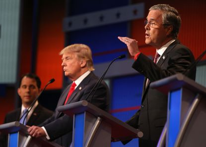 Jeb Bush makes a point during the debate.