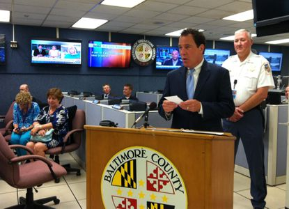 Following a training exercise at Baltimore County's Emergency Operations Center in Towson on Wednesday, County Executive Kevin Kamenetz urges residents to be prepared for hurricane season.