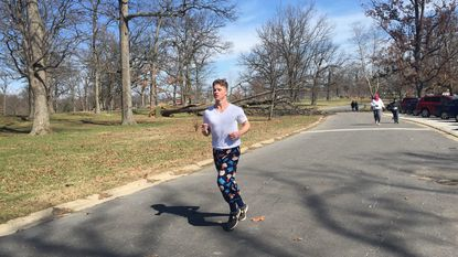 Bobby Stewart takes part in the Run in Pajamas at Druid Hill Park.