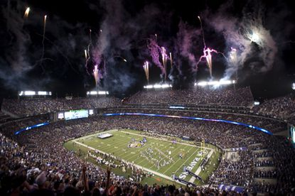 Fireworks explode over M&T Bank Stadium as the Ravens take the field against the Steelers on Thursday Night Football in 2014.