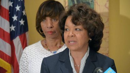 During a press conference called by Baltimore Mayor Catherine Pugh (back left) at City Hall, Michelle Pourciau was named director of Baltimore's transportation department.