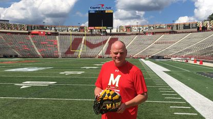 Maryland football equipment manager Drew Hampton has been in the business since he was a kid, following in the footsteps of his late father, Bill, the longtime New York Jets equipment manager.
