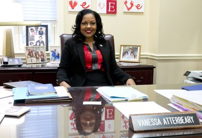 Del. Vanessa Atterbeary sits as her desk in her office in Annapolis. Atterbeary, 44, of Maple Lawn, is a Democrat for District 13 who has been serving in the House of Delegates since 2015. She was born and raised in Howard County; she attended Clemens Crossing Elementary, Clarksville Middle and Atholton High schools.