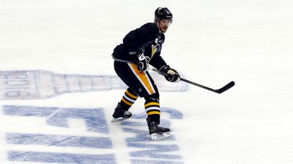 Penguins star Sidney Crosby participates in a drill during practice Sunday.