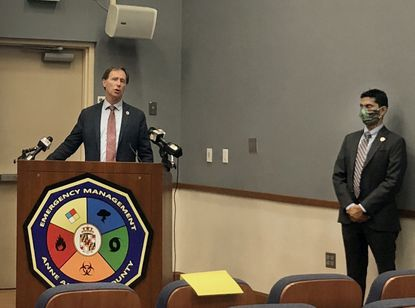 Anne Arundel County Executive Steuart Pittman announced Thursday new restrictions for restaurants and bars and limited social gatherings to limit the spread of the coronavirus. Also pictured, county Health Officer Dr. Nilesh Kalyanaraman.