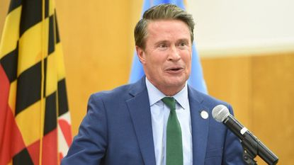 Harford County Executive Barry Glassman delivers his State of the County address Tuesday evening at the Harford County Council chambers in Bel Air.