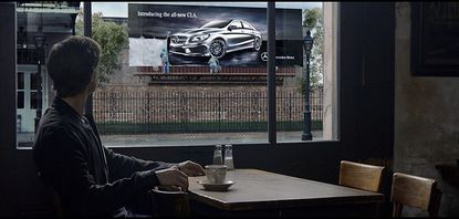 """This undated screenshot provided by Mercedes Benz shows the Super Bowl advertisement for the company. The majority of the 30-plus Super Bowl advertisers have been releasing their ads in the days leading up to the game, advertising fans already can catch a glimpse of """"Spider-Man"""" actor Willem Dafoe in a Mercedes-Benz ad."""