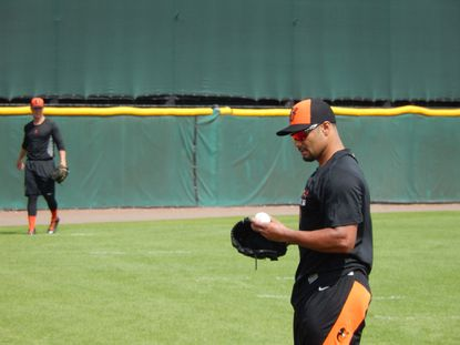 New Orioles pitcher Johan Santana on the field during spring training.