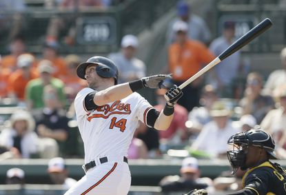 Baltimore Orioles' Nolan Reimold bats during a spring training game against the Pittsburgh Pirates in Sarasota, Fla., March 19.