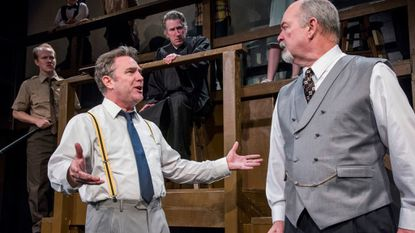 """From, left Nash Tetterton as Meeker, Andy Clemence as Henry Drummond, James Bunzli as Judge, Garry Goodson as Matthew Brady in Compass Rose's production of """"Inherit the Wind."""""""