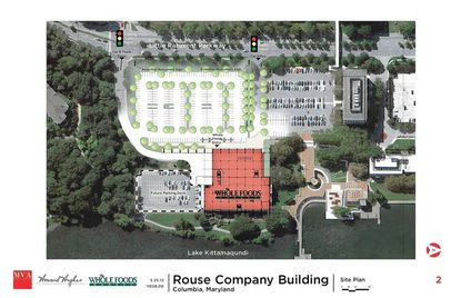 Site plans for the planned Whole Foods Market, to be located in the former Rouse Company Building on Lake Kittamaqundi, include a new parking deck on the lakefront.