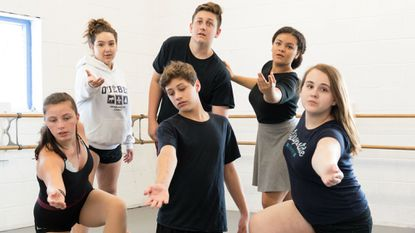 Actors appearing in the Talent Machine Company production of 'The Hunchback of Notre Dame' during rehearsals at Stageworkz. They are: front row (left to right) Alexis Baldwin, Liam O'Toole, Jayleigh Acree. Back row: Sloane Bowker, Ronan O'Toole and Payten Blake.