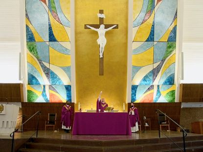 Mass at St. Margaret's Catholic Church in Bel Air.