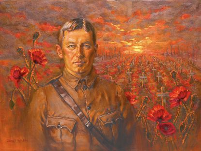 """An illustration of John McCrae, author of the poem """"In Flanders Fields,"""" by Janet Wilson."""
