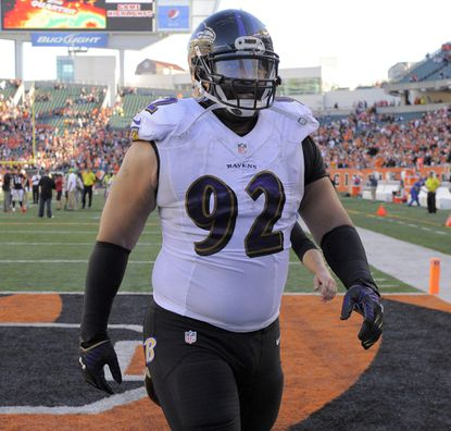 Ravens defensive tackle Haloti Ngata walks off the field after the team's loss to the Cincinnati Bengals.