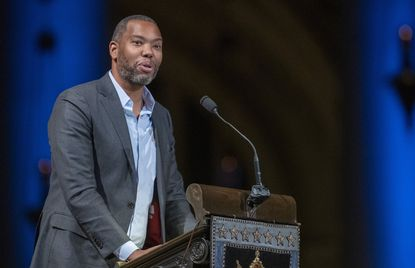 """Author Ta-Nehisi Coates speaks during the Celebration of the Life of Toni Morrison, Thursday, Nov. 21, 2019, in New York. An adaptation of Mr. Coates' """"Between the World and Me,"""" his prize winning book about racism and police violence against Blacks, will debut on HBO at 8 p.m. Saturday."""