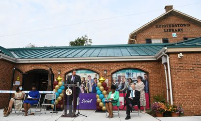 Baltimore County Executive Johnny Olszewski Jr. speaks at the opening ceremony of the Reisterstown branch of Baltimore County Public Library, which reopened today after a 14 month renovation. Sept. 14, 2021
