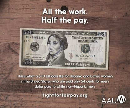 An image distributed by the American Association of University Women on Latina Equal Pay Day.